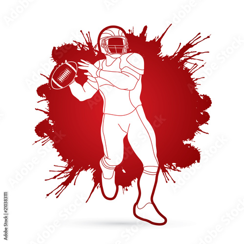 American football player, Sportsman action, sport concept designed