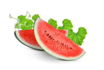 sliced red watermelon with green leaves isolated on white background