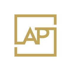 AP letter logo line square