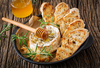 Baked cheese Camembert with rosemary and honey. Tasty food.