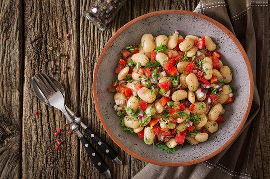 White bean cannellini salad. Vegan salad. Diet menu.