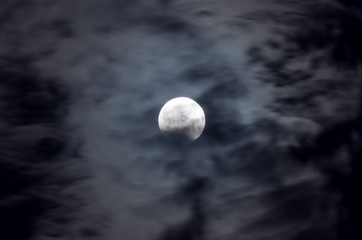 Lunar Eclipse among the night clouds