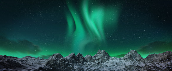 A beautiful green aurora dancing over the hills, panorama view. Wall mural