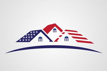 Logo USA Flag patriotic houses real estate icon