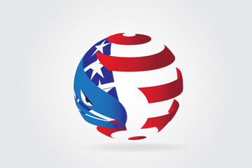 American eagle USA flag logo vector