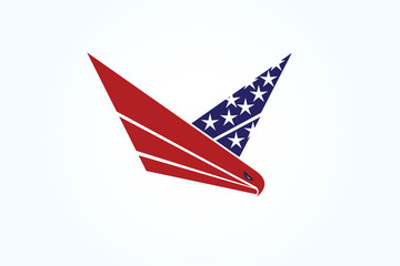 Logo eagle USA flag flying