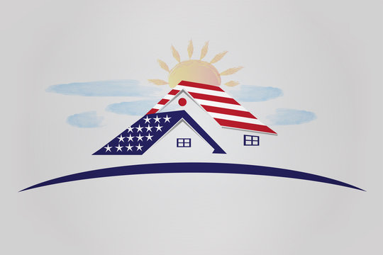 Patriotic houses with USA flag sun and clouds watercolor logo vector