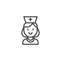 Nurse portrait outline icon. linear style sign for mobile concept and web design. Medical worker in uniform simple line vector icon. Symbol, logo illustration. Pixel perfect vector graphics