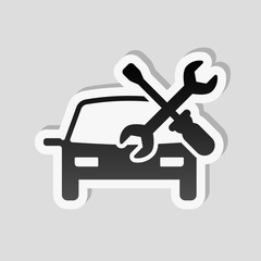Car service, repair instrument, fix. Sticker style with white bo