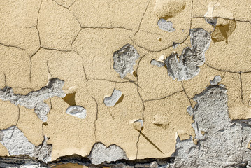 Texture of cracked paint on the wall
