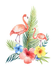 Watercolor vector card of tropical leaves, flowers and the pink Flamingo isolated on white background.