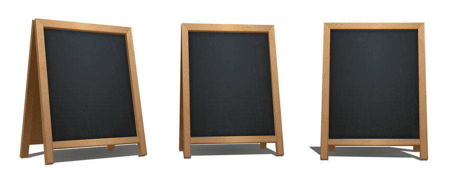 Brown A-Frame Chalkboard from different angles. Bar signage for drinks, cocktails, dish of the day. Realistic street menu sign. Eps10 vector