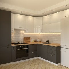 White-grey kitchen contemporary style, 3d images