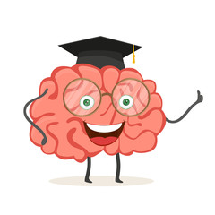 Cartoon character brain with glasses and academic hat. Vector illustration isolated on white background. EPS 10.