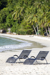 Two beach loungers on the sand beach and coconut palm trees next to the sea on a tropical Perhentian Islands, Malaysia