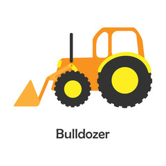 Bulldozer in cartoon style, card with transport for kid, preschool activity for children, vector illustration