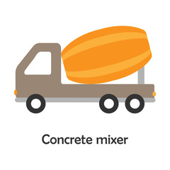 Concrete mixer in cartoon style, card with transport for kid, preschool activity for children, vector illustration