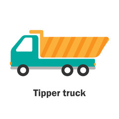 Tipper truck in cartoon style, card with transport for kid, preschool activity for children, vector illustration