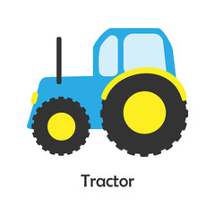 Tractor in cartoon style, card with transport for kid, preschool activity for children, vector illustration