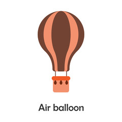 Air balloon in cartoon style, card with transport for kid, preschool activity for children, vector illustration