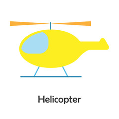 Helicopter in cartoon style, card with transport for kid, preschool activity for children, vector illustration
