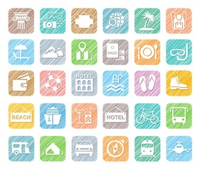Travel, vacation, tourism, vacation, icons, pencil shading, colored, vector. Different types of holidays and ways of travelling. White icons on a colored shaded field. Simulation of shading.