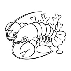 Lobster cartoon illustration isolated on white background for children color book