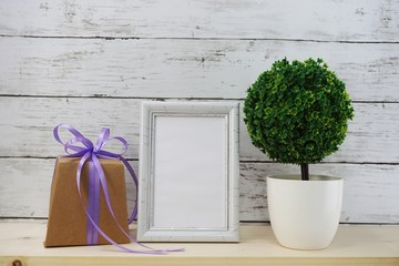 photo frame with gift box and home decoration