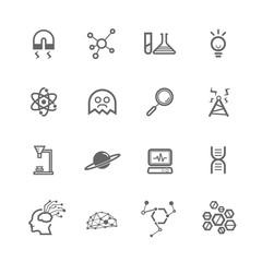 simple science icon set, outline icon use for website and mobile