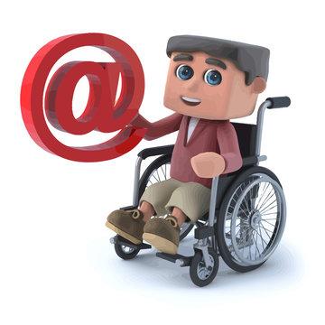 Vector 3d Boy in wheelchair has an email address