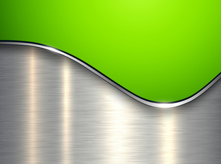 Green metallic background, elegant with wave and brushed metal texture Wall mural
