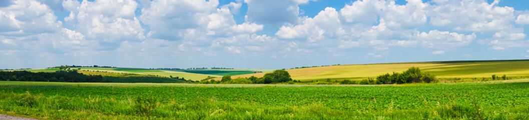 Aluminium Prints Blue sky panorama beautiful view landscape field