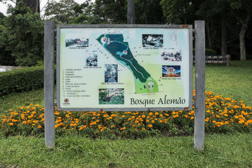 Bosque do Alemao parque translation  german grove park Brazil information  map board