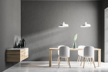 Gray minimalistic dining room interior