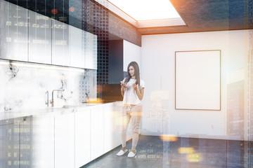 Marble kitchen corner, countertops poster toned