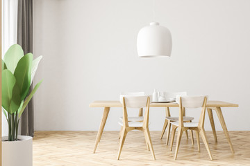 White and wooden dining room interior