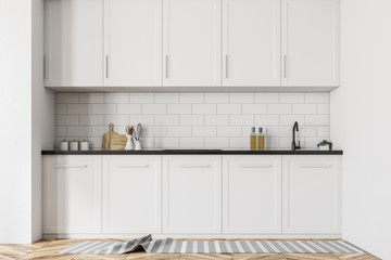 Scandinavian style kitchen, white countertops