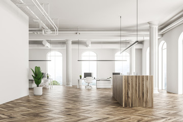 White office interior, wooden reception, side view