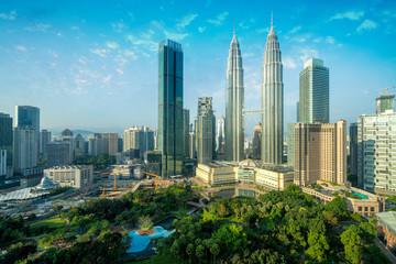 Foto op Canvas Kuala Lumpur Cityscape of Kuala Lumpur Panorama at sunrise. Panoramic image of skyscraper at Kuala Lumpur, Malaysia skyline with blue sky.