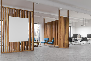 Wood office waiting room interior, poster