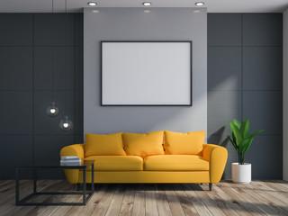 Gray living room interior, sofa, poster