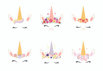 Spoed Fotobehang Illustraties Set of different cute funny unicorn face cake decorations. Isolated objects on white background. Flat style design. Concept for children print.