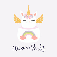 Hand drawn vector illustration of a cute funny unicorn cake with face, horn, ears, wings, lettering quote Unicorn party. Isolated on light background. Flat style design. Concept for children print.