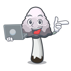With laptop shaggy mane mushroom character cartoon