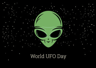 World UFO Day vector. Alien cartoon character. Alien on a starry background. The face of a green alien. Important day