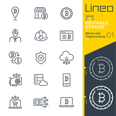 Lineo Editable Stroke - Bitcoin and Cryptocurrency line icons