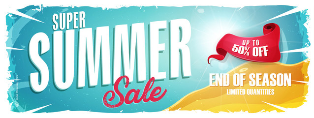 Summer Holiday Sale Wide Banner/ Illustration of a wide blue summer sale template banner with colorul elements, typography and grunge frame