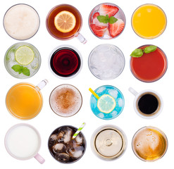 Drinks variety, top view, isolated on white background