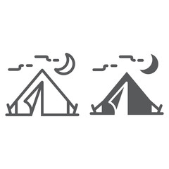 Tourist tent line and glyph icon, travel and tourism, camping sign vector graphics, a linear pattern on a white background, eps 10.