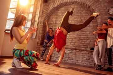 Street artist break dancing performing moves